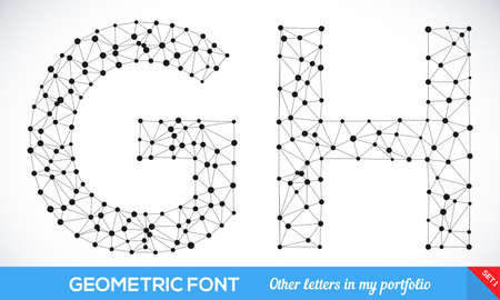 sign h: Geometric type font, geometric modern typography set. g and h letters. More letters in my portfolio. Illustration