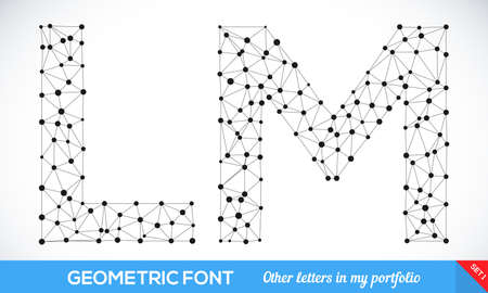 l background: Geometric type font, geometric modern typography set. L and m letters. More letters in my portfolio. Illustration