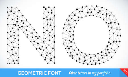 Geometric type font, geometric modern typography set. N and O letters. More letters in my portfolio.