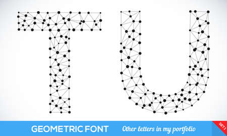t background: Geometric type font, geometric modern typography set. T and U letters. More letters in my portfolio. Illustration