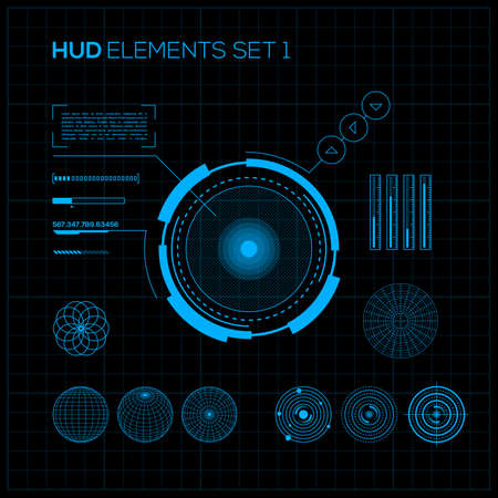 HUD and GUI set. Futuristic User Interface. Vector illustration for your design Illustration