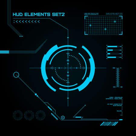 raumschiff: HUD und GUI einstellen. Futuristische User Interface. Vektor-Illustration für Ihr Design
