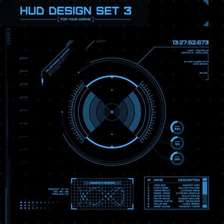 HUD 및 GUI 설정합니다. 미래의 사용자 인터페이스. 디자인을위한 벡터 일러스트 레이 션