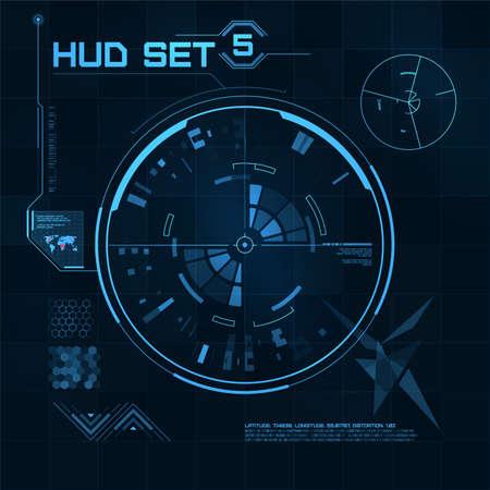 raumschiff: HUD und GUI einstellen. Futuristische User Interface. Vektor-Illustration f�r Ihr Design