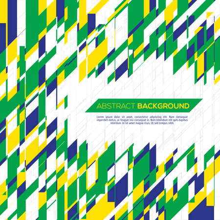 Vector geometric background in Brazil flag concept.  Vector