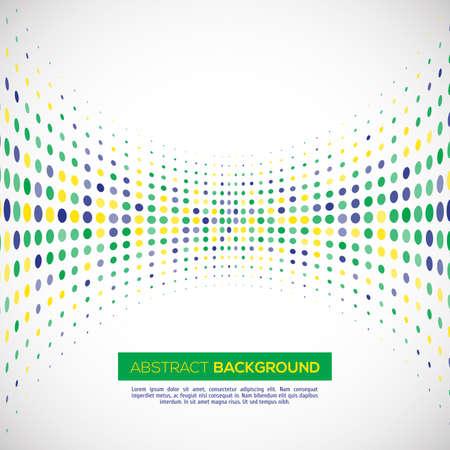 soccer: Vector geometric halftone background in Brazil flag concept. Illustration