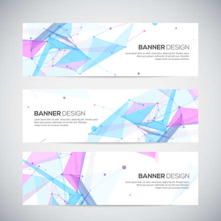 Vector banners set with polygonal abstract shapes, with circles, lines, triangles Vector