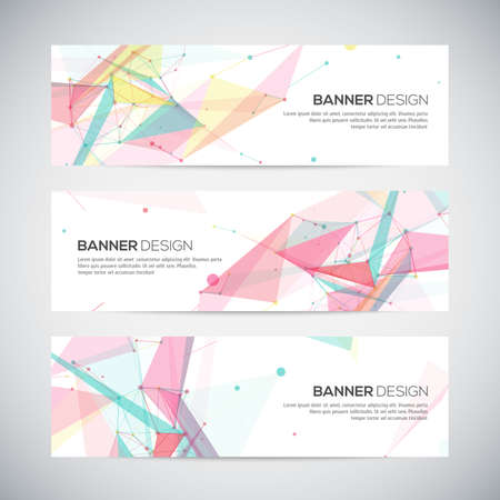 Vector banners set with polygonal abstract shapes, with circles, lines, triangles