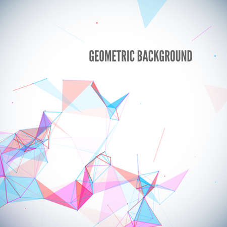fractal pink: Abstract geometric background with circles, lines, triangles and shapes