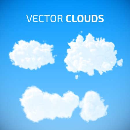 cumulus cloud: Vector clouds set  Blue sky with clouds