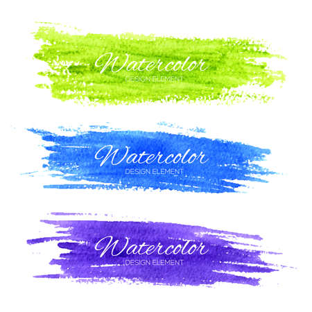 spectral color: Colorful  watercolor brush strokes for your design Illustration