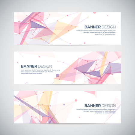 technology background: Vector banners set with polygonal abstract shapes, with circles, lines, triangles
