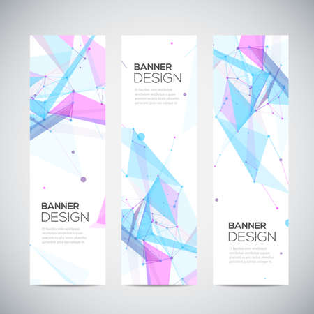 Vector vertical banners set with polygonal abstract shapes, with circles, lines, triangles
