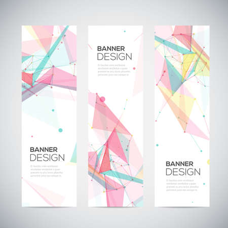 Vector vertical banners set with polygonal abstract shapes, with circles, lines, triangles Vector