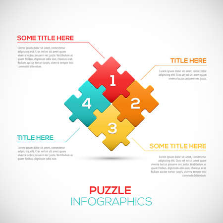 puzzle shadow: 3D Puzzle piece infographics business concept vector  Vector Illustration  Illustration