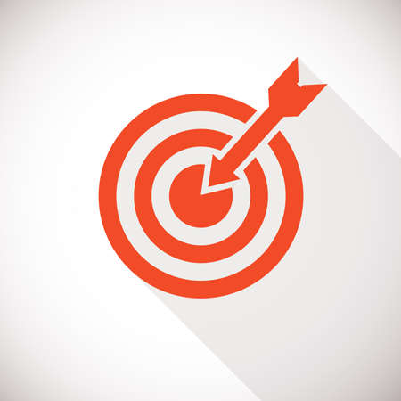 marketing target: Target icon. Target icon concept with long shadow