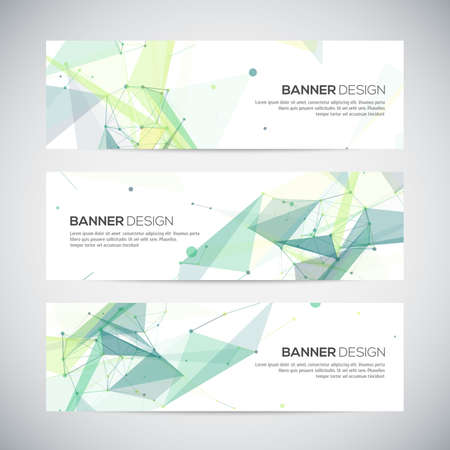 triangle background: Banners set with polygonal abstract shapes, with circles, lines, triangles