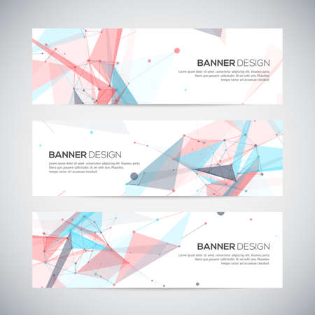 Banners set with polygonal abstract shapes, with circles, lines, triangles