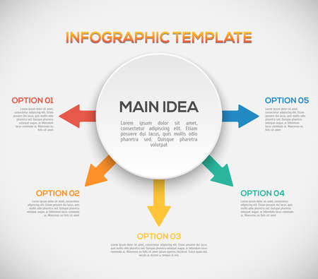 decor graphic: Infographics template with arrows and 3D circle.