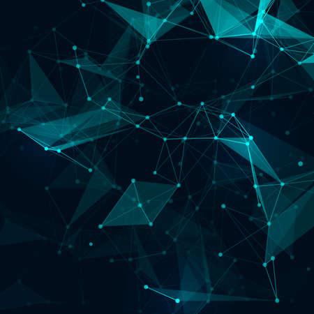qu�mica: Bajo poli gris tecnolog�a brillante vector abstracto del fondo. Estructura de conexi�n. Los datos vectoriales fondo la ciencia. Vector de fondo poligonal.