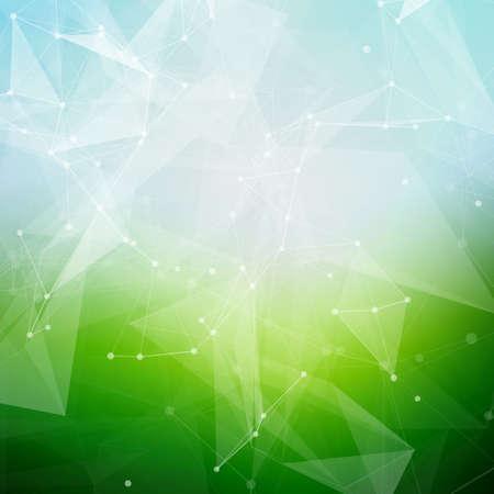 qu�mica: Tiempo de verano poligonal baja poli fondo brillante abstracto con los puntos de conexi�n y l�neas.