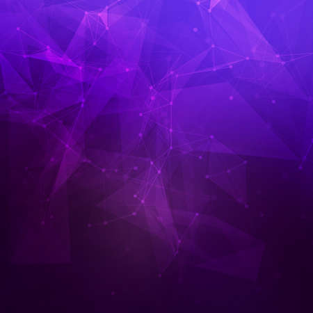 Abstract low poly dark purple bright technology vector background. Connection structure. Vector data science background. Polygonal vector background.