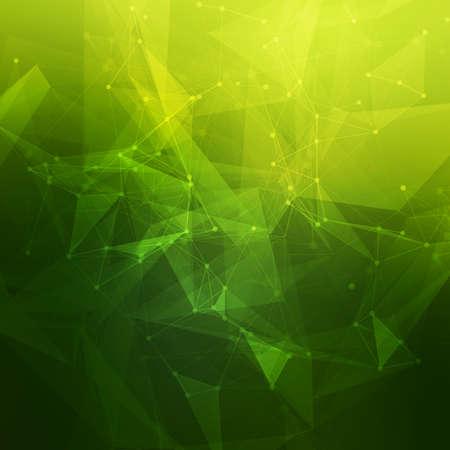 verde: Bajo poli gris tecnología brillante vector abstracto del fondo. Estructura de conexión. Los datos vectoriales fondo la ciencia. Vector de fondo poligonal.