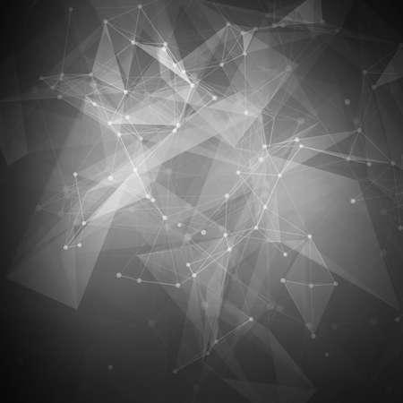 Abstracte zwarte laag poly lichte technologie vector achtergrond. Verbindingsstructuur. Vector data science achtergrond. Veelhoekige vector achtergrond. Stock Illustratie