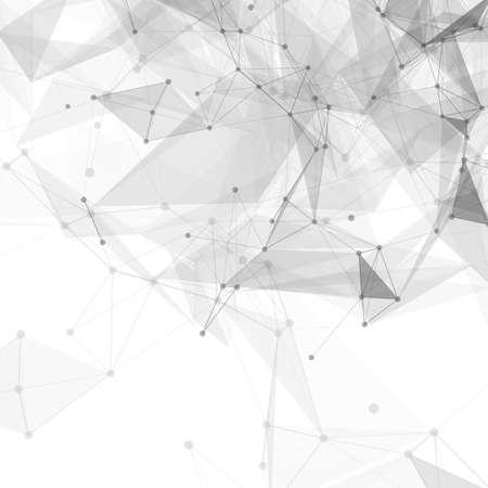 conectar: Bajo poli blanco brillante tecnología de vectores de fondo abstracto. Estructura de conexión. Los datos vectoriales fondo la ciencia. Vector de fondo poligonal. Vectores