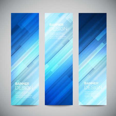 azul: Banderas bajas azules vector poli verticales fijados con líneas abstractas poligonales. Resumen de vectores de fondo brillante poligonal. Botones del Web del vector.