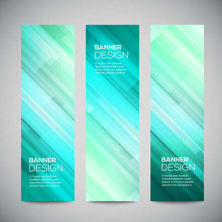 Blue low poly vector vertical banners set with polygonal abstract lines. Abstract vector polygonal bright background. Vector web buttons.