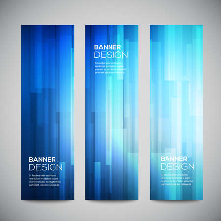glow: Blue low poly vector vertical banners set with polygonal abstract lines. Abstract vector polygonal bright background. Vector web buttons.