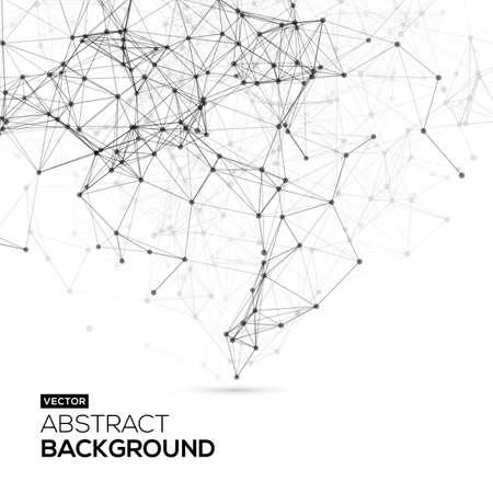 Bajo poli, Molécula Y Fondo Comunicación. Blanco brillante tecnología de vectores de fondo abstracto. Estructura de conexión. Vector fondo de la ciencia.