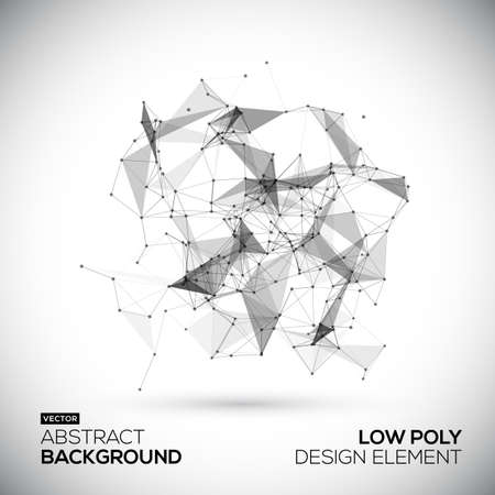 Abstract low poly geometric technology vector design element. Connection structure. Vector data science background. Polygonal vector background.