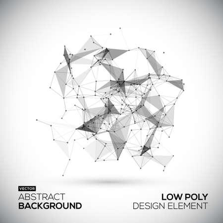 communication: Résumé low poly technologie géométrique élément de dessin vectoriel. la structure de connexion. Les données vectorielles de science-fond. Polygonale fond de vecteur.