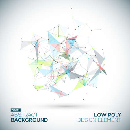 Abstracte laag poly geometrische technologie vector design element. Verbindingsstructuur. Vector data science achtergrond. Polygonal vector achtergrond.