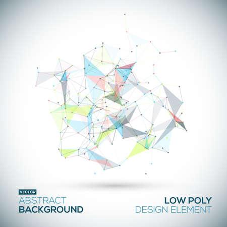 Abstrakte geometrische Low-Poly-Technologie Vektor-Design-Element. Verbindungsstruktur. Vektordaten Wissenschaft Hintergrund. Polygon-Vektor Hintergrund.