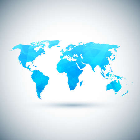 asia globe: Low poly blue vector world map. Vector illustration Illustration