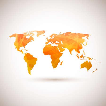 Laag poly oranje vector kaart van de wereld. Vector illustratie Stock Illustratie