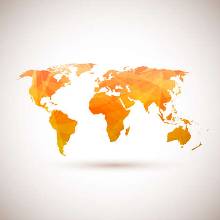 global background: Low poly orange vector world map. Vector illustration