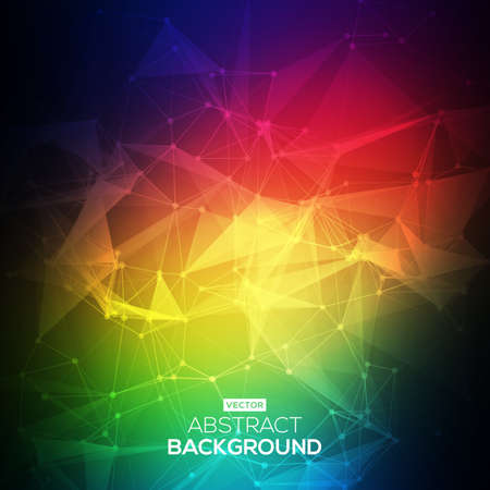 Abstract Low poly, Molecule And Communication Background. Abstract colorfull bright technology vector background. Connection structure. Vector science background.