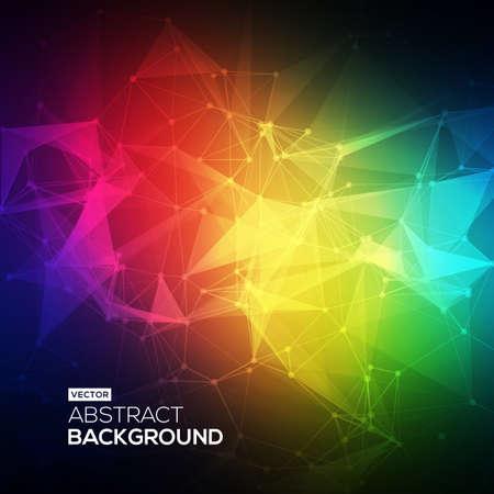 低ポリ、分子およびコミュニケーションの背景を抽象化します。カラフルな明るい技術のベクトルの背景を抽象化します。接続構造体。科学のベク