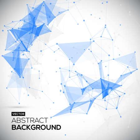抽象的な低ポリ、分子およびコミュニケーションの背景。白色の明るい技術のベクトルの背景を抽象化します。接続構造体。科学のベクトルの背景