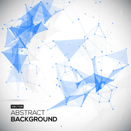 Abstract, low poly, Molecule And Communication Background. Abstract white bright technology vector background. Connection structure. Vector science background. Иллюстрация