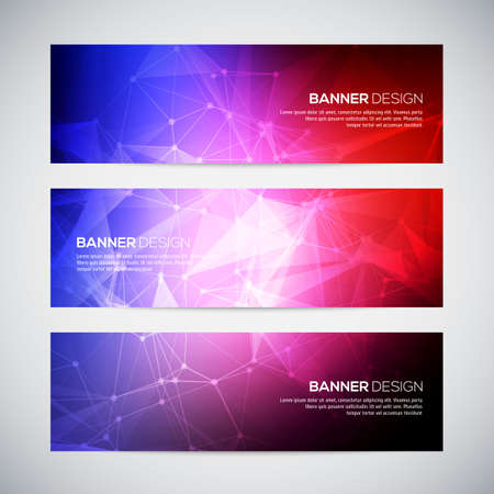 Geometric, lowpoly, abstract modern vector banners set with polygonal background. Molecule And Communication Background. Connection structure. Vector science background. Polygonal background.