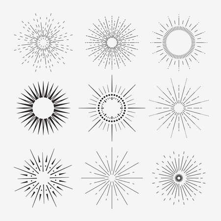 linear art: 9 Art deco vintage sunbursts collection with geometric shape, light ray. Set of vintage sunbursts in different shapes. Vector