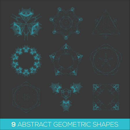 rosetta: Set of geometric shapes, lowpoly shapes, triangles, line design Illustration