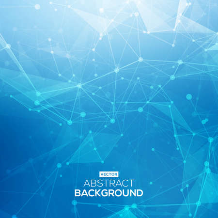 digital data: Abstract low poly blue bright technology vector background. Connection structure. Vector data science background.