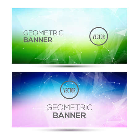 Bright horizontal abstract geometric, low poly banners