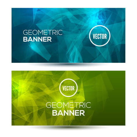 Bright horizontal abstract geometric, low poly banners.  イラスト・ベクター素材